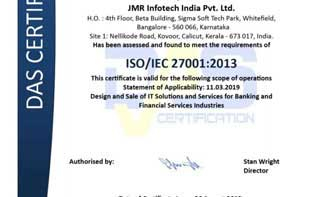 JMR Infotech is now ISO 27001:2013 – Information Security Management System Certified