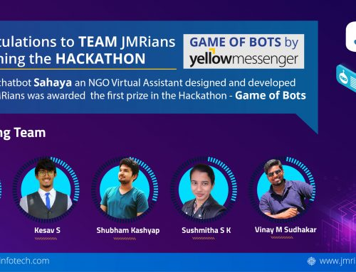 Team JMRians won the first prize in the hackathon – Game of Bots by Yellow Messenger